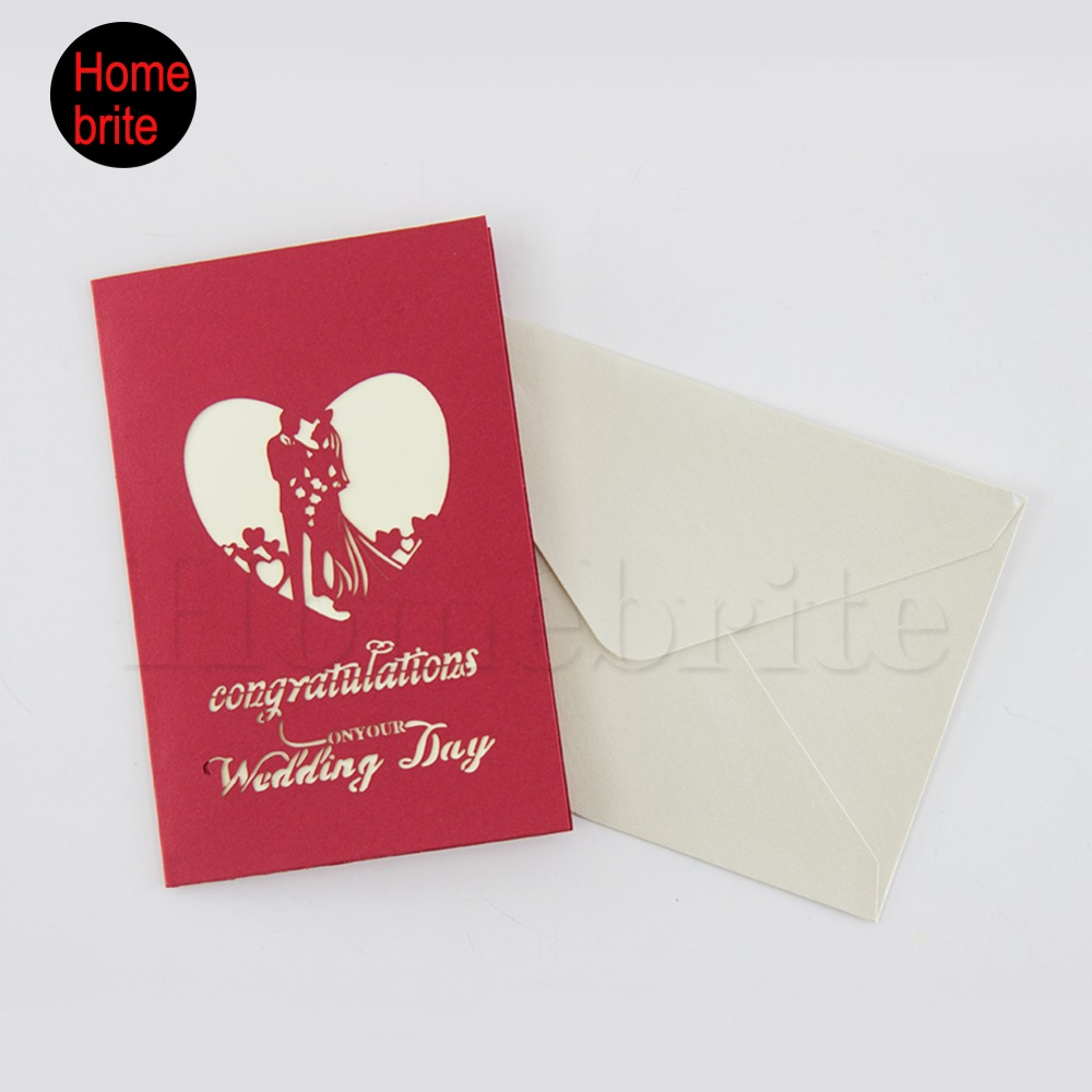 Wedding Invitation 3D Pop Up Lovers Paper Card With Envelope Custom ...