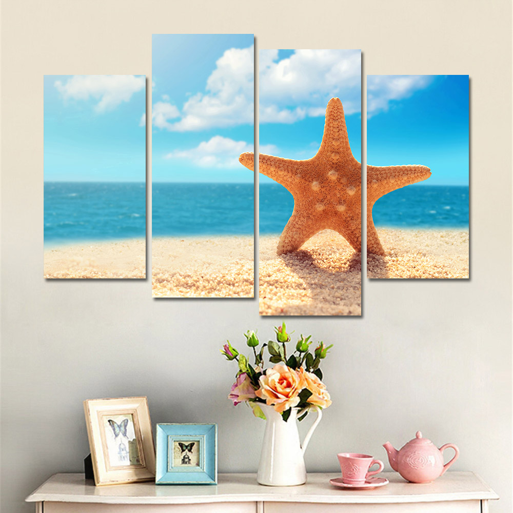 modern nordic landscape sea shell print poster wall art canvas pictures for kids room oil painting - Cheap Canvas Wall Art