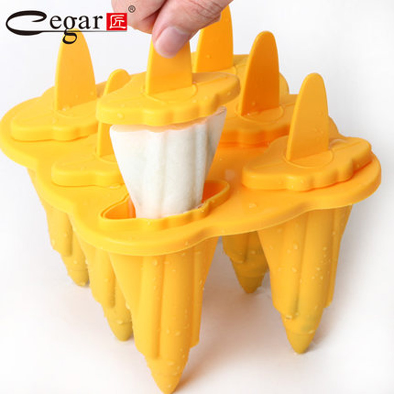 6 Cell Ice Cream Mold Platinum Silicone PP Frozen Ice Cube Sticks Makers Popsicle Lolly Mould