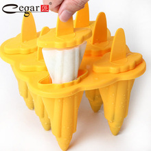 6 Cell Eiscreme-form Platin Silikon + PP Gefrorenes Eis Cube Sticks Makers Popsicle Am Stiel Form DIY Bär Moldura Werkzeuge Gelb