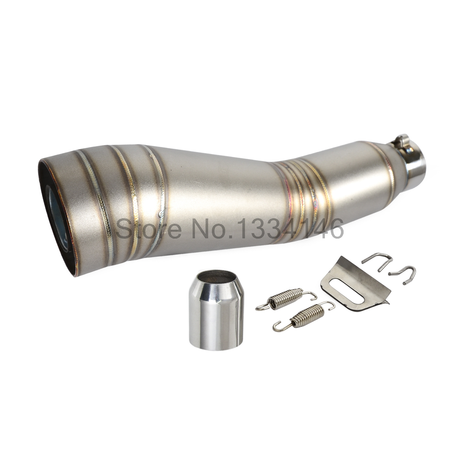 ФОТО Universal Motorcycle Stainless Steel GP Exhaust Muffler Pipe Slip-On 51mm With Removeable DB Killer separated bracket