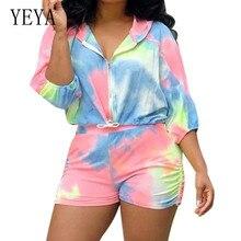 YEYA Elegant Gradient Tie Dyed 2 Pieces Sets Hooded Zipper Top+slim Pants Women Vintage Sport Jumpsuits Autumn Casual Playsuits
