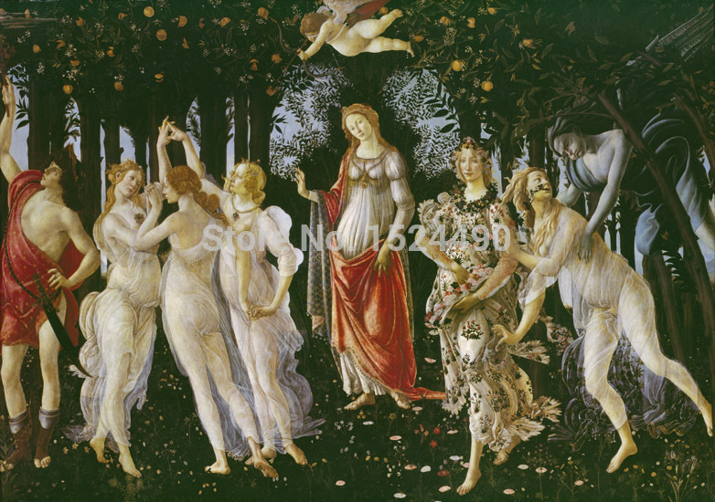 High quality cotton printed Famous Oil Painting On Canvas Copy Of Botticelli's Primavera Full Size Picture 80×123 cm