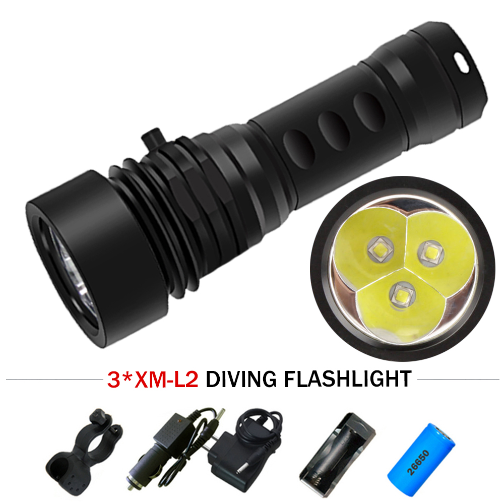 Impartial 120m Underwater Lamp Xm L2 Professional Diving Equipment Photo Fill Light Scuba Flashlights 26650 Waterproof Torch Lampe Torche 100% High Quality Materials Led Flashlights