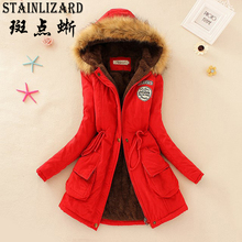 Basic Women Winter Jacket Casual Cotton Hooded Fur Women coa