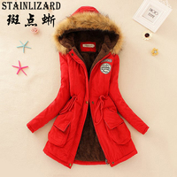 STAINLIZARD Fahion Women Winter Coat Casual Cotton Hooded Red Neck Long Thick Women Jacket Warm Ladies