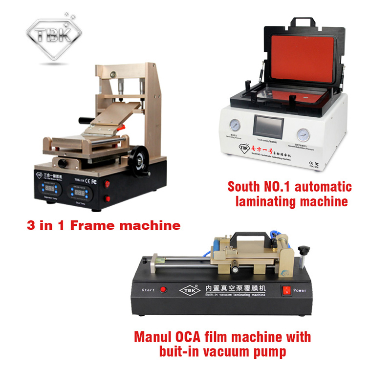 TBK LCD repair equipment 3 in 1 glue remove machine+ tbk 808 OCA Vacuum Laminator Machine+OCA Film Laminating Machine