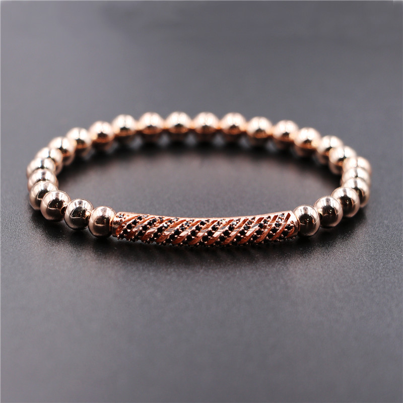 Kang hua 2019 Fashion 6mm Hematite stone Beads Bracelets for men women Micro Pave CZ Striped metal tube classic jewelry Bijoux in Strand Bracelets from Jewelry Accessories