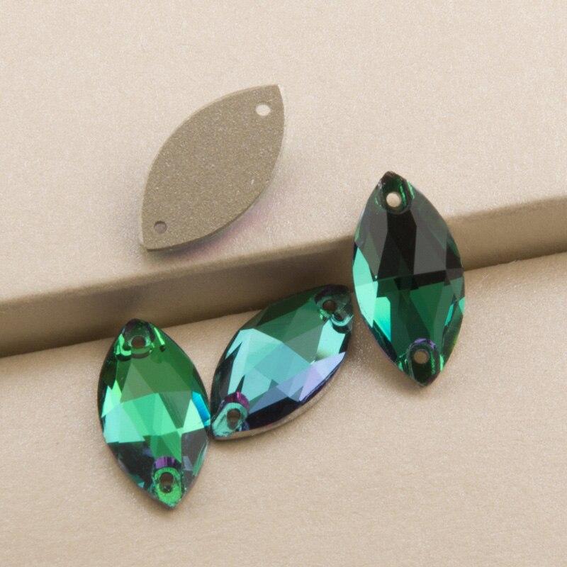 b83194a223 US $7.36 10% OFF|Aliexpress.com : Buy Emerald 3223 Navette 6X12 9X18mm  Flatback Rhinestones Crystal Stone Sew On Rhinestone Glass Crystals Sewing  ...