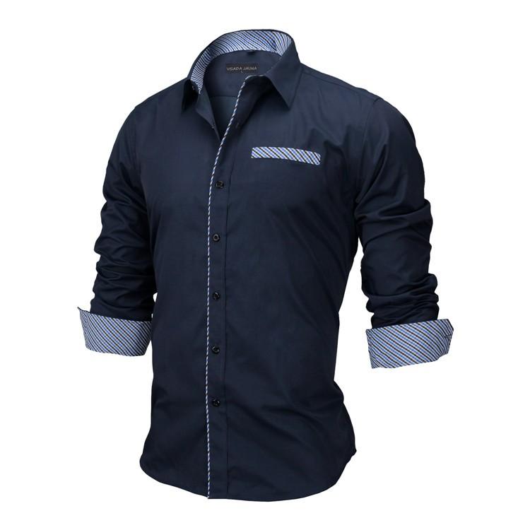 HTB1nDGoKVXXXXcRXpXXq6xXFXXXK - New Arrivals Slim Fit Male Shirt Solid Long Sleeve British Style Cotton Men's Shirt N332