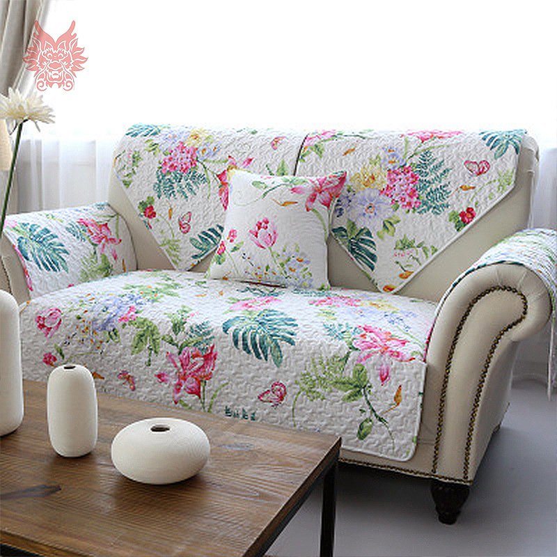Free Ship American Style White/blue Striped/floral Print Quilting Sofa Cover  100%