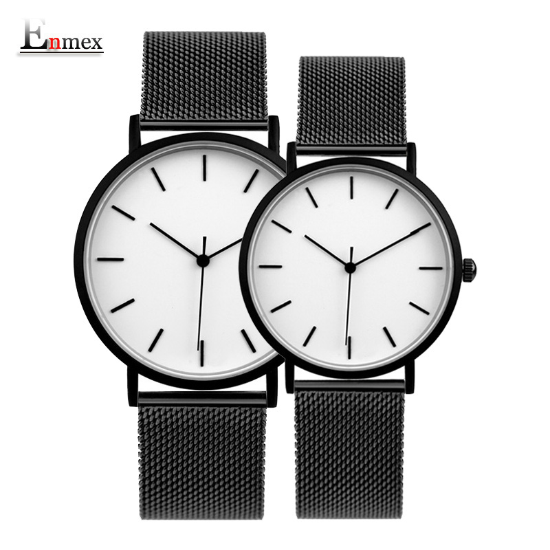 Enmex cool style couple wristwatch Brief vogue simple stylish Black and white face Matte texture quartz clock fashion watch 2017 gift enmex creative simple design brief face with a red pointer leather band water prof young and fashion quartz watch