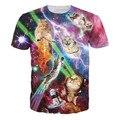 Harajuku стиль сердитый гром кошка майка галактика пространство бэкон печать 3D футболки мужчины женщины смешно с коротким рукавом Tshirt вспышка кошка топы