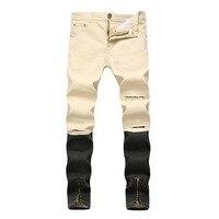 Męskie Dżinsy Stretch Homme Hip Hop Zamek Nogi Dżinsy Zgrywanie Dla mężczyźni Skinny Jeans Z Otworami Khaki Niebieski Biały Plus Rozmiar 40 42