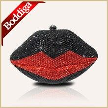 Luxus Mode Lippenform Rot und Schwarz Diamant Handarbeit Kupplung Tasche Kristall Abend Handtasche tropfen-verschiffen