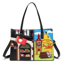 Las mujeres de cuero Patchwork bordado bolsos de hombro bolsa de mensajero bolsos bolsas Braccialini de dibujos animados de estilo 3D recuerdos de Suiza