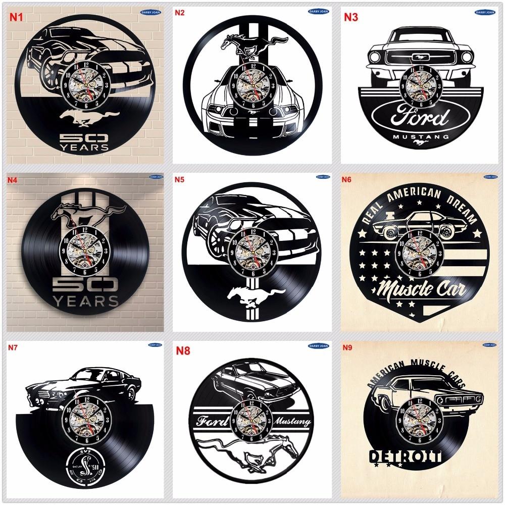 Ford Mustang Handmade Vinyl Record Wall Clock Fun gift Vintage Unique Home decor  Car clocks|wall clock|record wall clock|vinyl record wall clock - title=