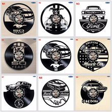 Ford Mustang Handmade Vinyl Record Wall Clock Fun gift Vintage Unique Home decor Car clocks(China)