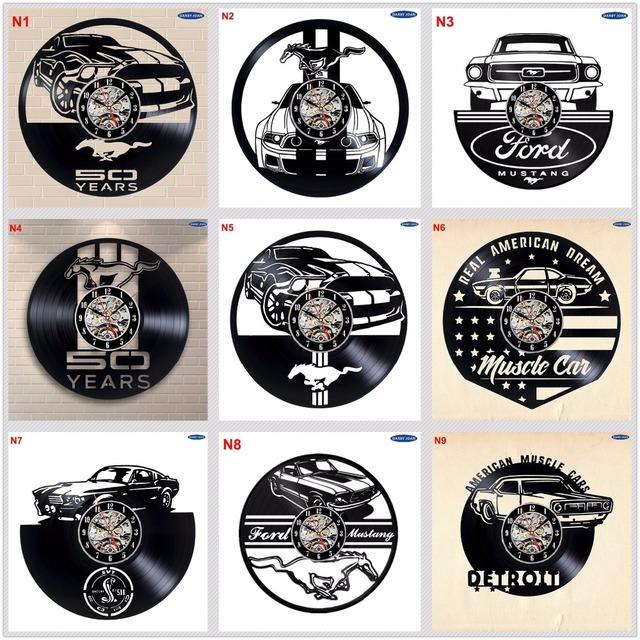 Ford Mustang Handmade Vinyl Record Wall Clock