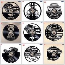 Ford Mustang Handmade Vinyl Record Wall ClockสนุกของขวัญวินเทจVintage Home Decorรถนาฬิกา