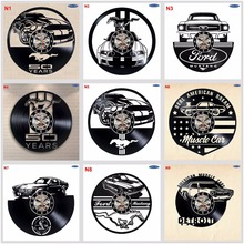 Ford Mustang Reloj de pared hecho a mano con discos de vinilo, regalo divertido, decoración Vintage única para el hogar, relojes de coche