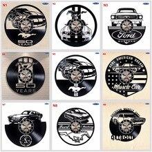 Ford Mustang ręcznie płyta winylowa zegar ścienny zabawny prezent Vintage unikalny wystrój samochodu domu zegary