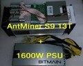 AntMiner S9 13 Т + 1600 Вт БП 13-й/s Bitmain 13000Gh/с Asic Шахтер Bitcon Шахтер 16nm БТД Добыча Энергопотребление 1300 Вт SHA256