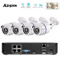 AZISHN 4CH 1080P HDMI 48V POE 2MP NVR CCTV Camera System Outdoor Security 720P IP Camera P2P Video Surveillance System NVR Kit
