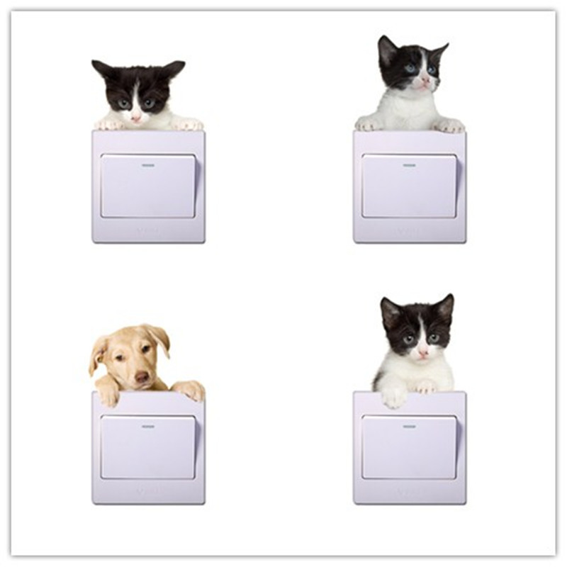 Lovely 3D Cats Dogs Switch Sticker for Home Decor Living room bedroom cute Animal Vinyl Decal Art Poster switch wall Stickers