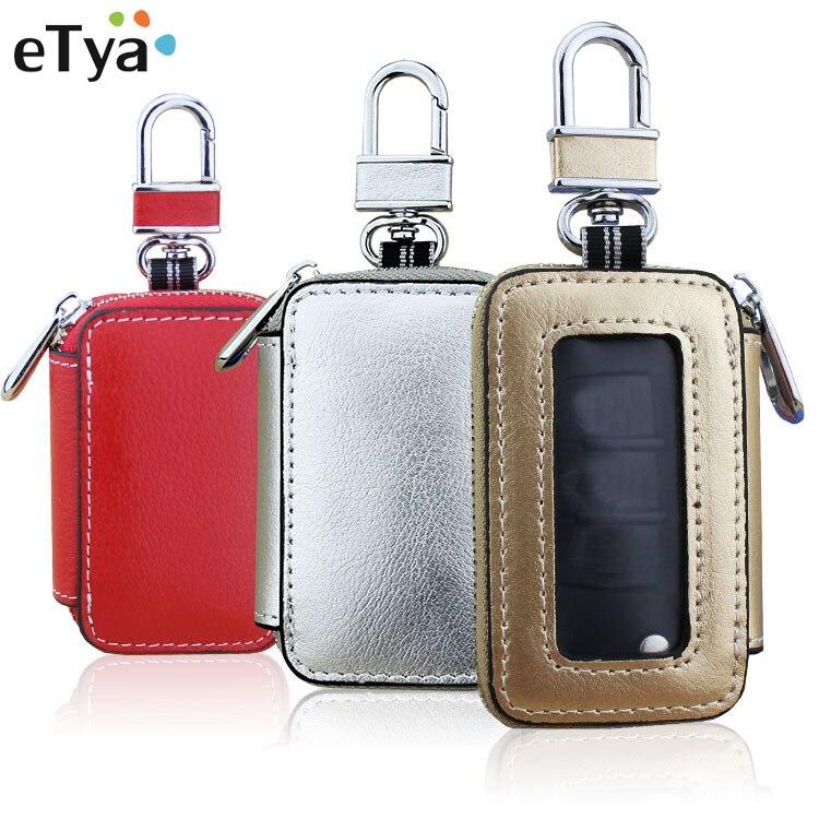 eTya Hot Sale Car Key Wallets Women Men Genuine Leather Key Coin Purse Bag Holder Housekeeper Unisex Key Chain Organizer Wallet