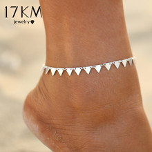 17KM 3 Style New Triangle Geometry Anklet Foot Chain Ankle Summer Bracelet Charm Anklet Tassel Sandals Beach Foot Jewelry Gift