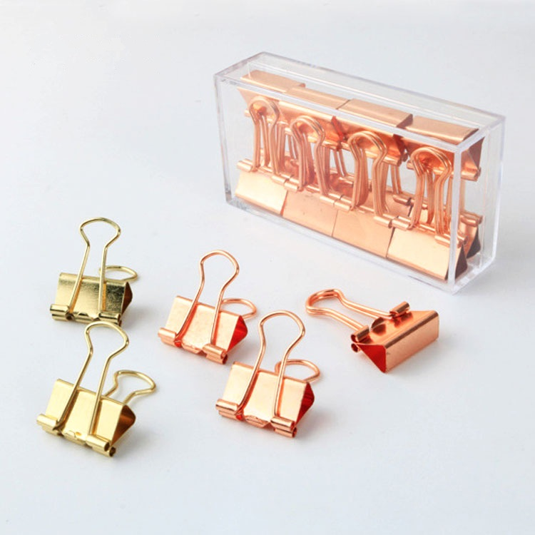 12 Pcs/box 19mm Luxury Rose Gold Color Metal Clamp Chancery Paper Documents Organizer Binder Clip Paper Organizer Clips Set never marble binder clips gold metal clips document paper clips with clip holder fashion office accessories school supplies