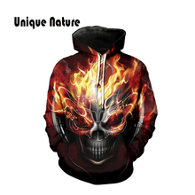 Unique Nature 3d Fire and Skulls Hoodies Long Sleeve Jackets Cute Hooded Sweatshirts Stylish Pullover with Hat Plus Size 5XL