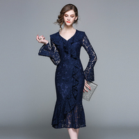 2018 Spring European Wind Hollow Out Palace Horn Sleeve Fish Tail Long Sleeve Dress Lace Vestidos Ruffled Brand Design Quality