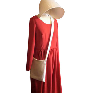 Image 3 - The Handmaids Tale Cosplay Offred Costume Long Dresses Cloak Halloween Carnival Women Red Cape Hat Bag Full Set Party Gown Suit