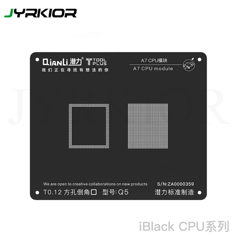 Jyrkior QianLi CPU Processor A7/A8/A9/A10/A11 Module BGA Reballing Black Stencil Plant Tin Steel Net For IPhone 5/6/6SP/7G/7P/8