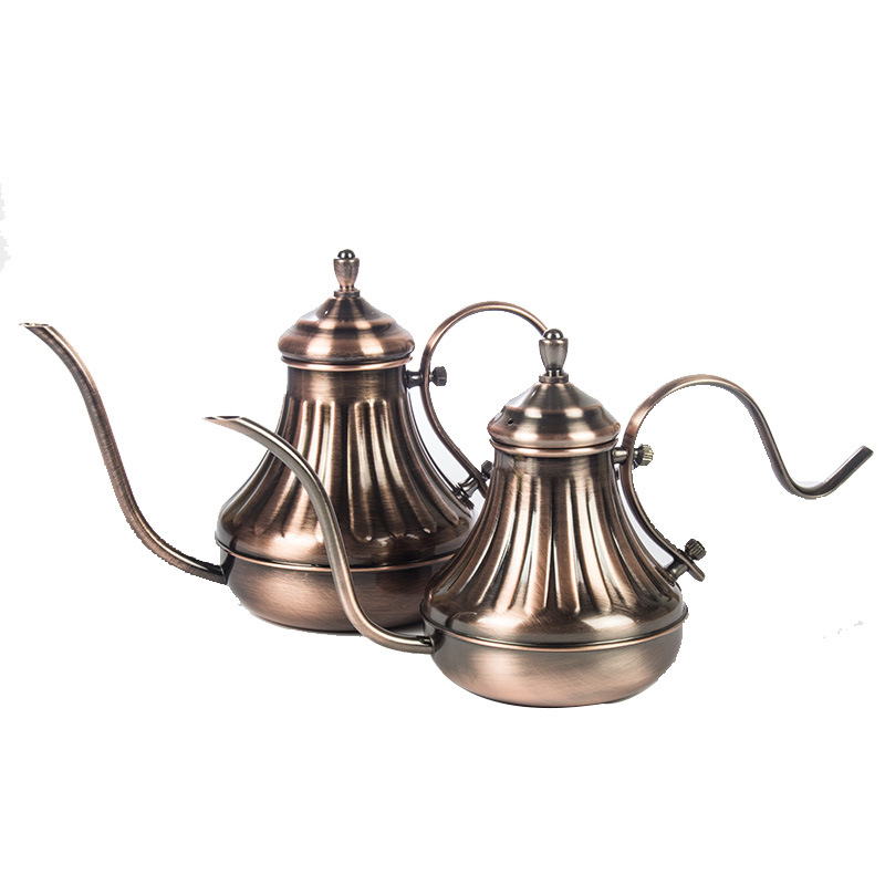 Coffee pot stainless steel fine mouth pot retro copper plated palace pot hand wash drip coffee pot 3