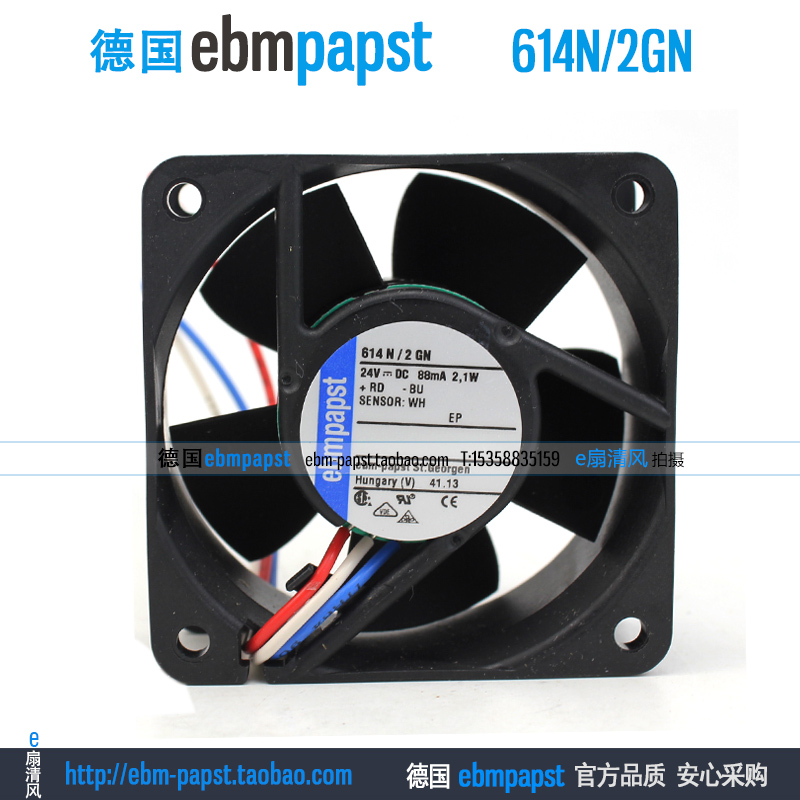 ebm papst 614N2GN 614N/2GN DC 24V 0.088A 2.1W 60x60x25mm Server Square fan ebm papst 4800z 4800 z ac 115v 0 16a 0 14a 13w 12w 120x120x38mm server square fan