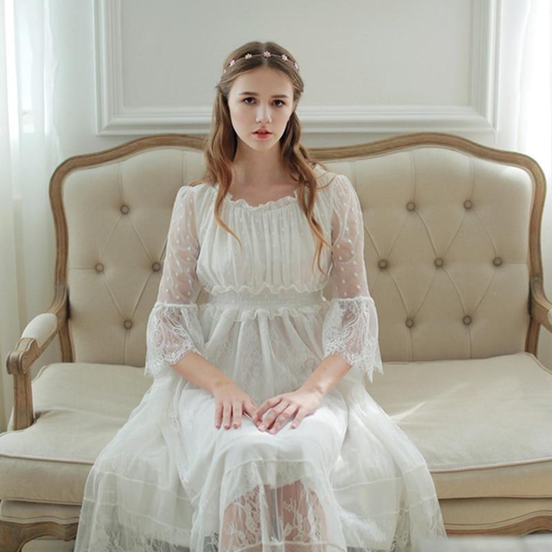 ④Women Sleepwear Gown Lace Nightgown Gorgeous Elegant Sleepwear ...