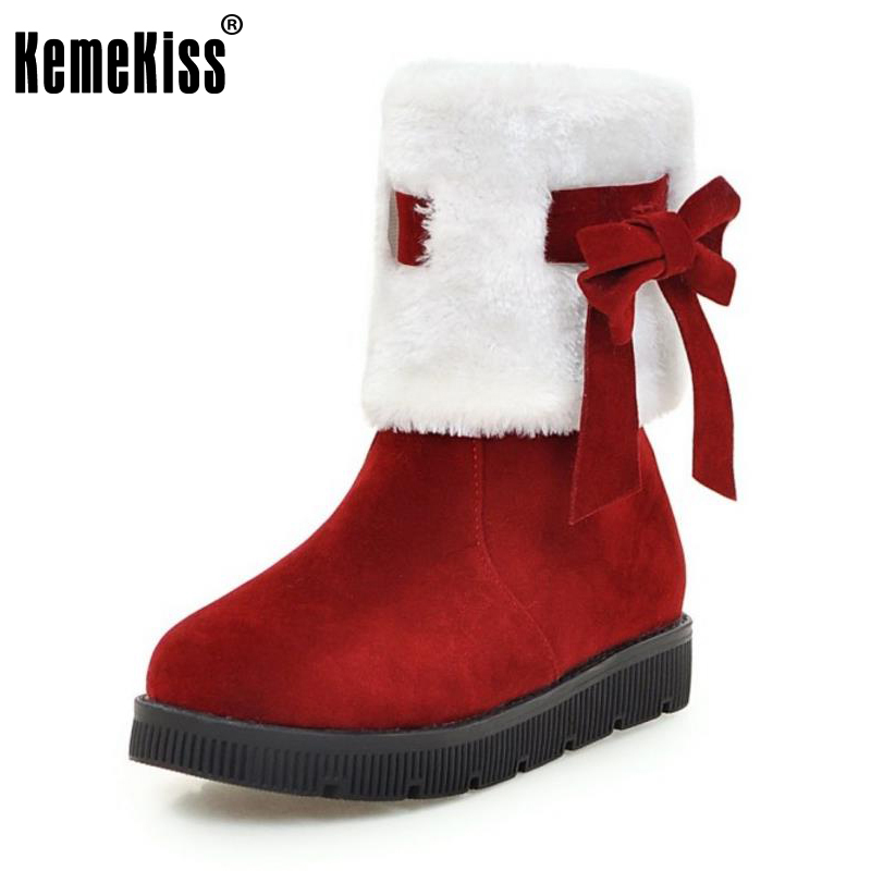 KemeKiss Size 34-43 4 Colors Women Thick Fur Snow Boots Bowtie Flats Boots Warm Fur Boots In Cold Winter Shoes Women Footwears hee grand sweet faux fur slippers fashion flats shoes woman slip on bowtie winter warm women shoes 4 colors size 36 41 xwt966