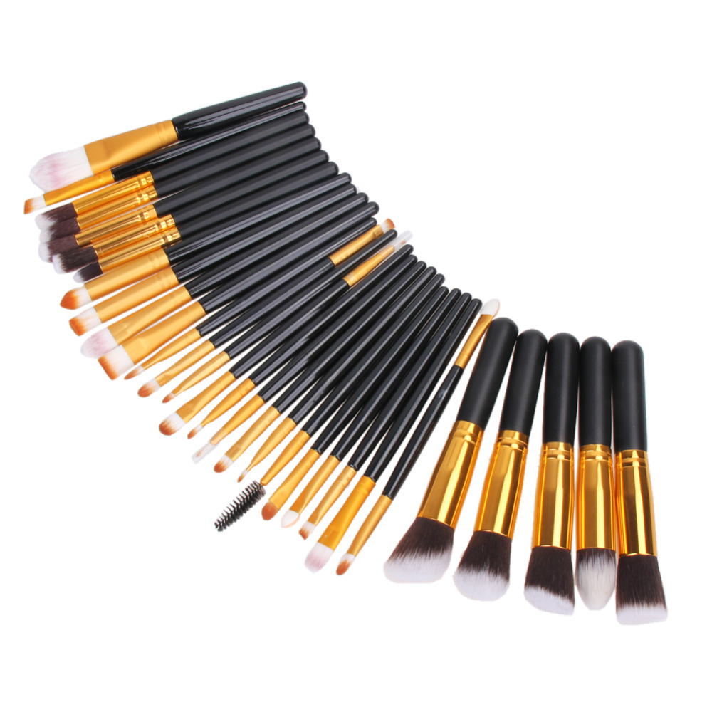 30Pcs Black Makeup Brush Set Powder Eyeshadow Eyeliner Eyebrow Blush Cosmetic Make Up Brushes Tools Kit Foundation Brush Pinceis 25pcs makeup brushes set woodcolor nylon eye foundation powder eyeshadow eyeliner blush brush make up cosmetic tools kit bag