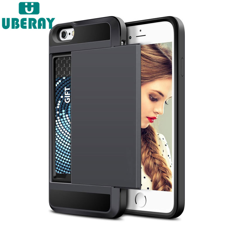 Slide Wallet Credit Card Slot PC Phone Case For iPhone 6 7 8 X 6S Plus 5 s 5S SE 5C Dual Layer TPU Armor Shockproof Back Cover slide wallet