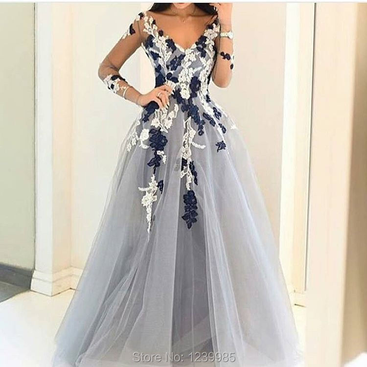 Light Gray Tulle Prom Dress 2017 Long Sleeves Flower