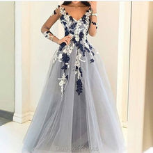 Light Gray Tulle Prom font b Dress b font 2017 Long Sleeves Flower font b Evening