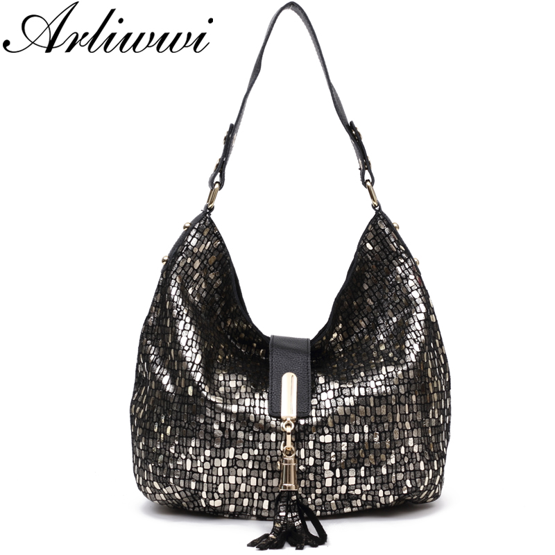 Arliwwi Hobos Style Graceful Tassel Genuine Leather Shiny Prints Handbags Lady Real Soft Bags Fashion New In Shoulder From Luggage On