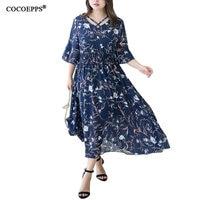 2018 New Arrivals Vintage Ladies Chiffon Dress Women Plus Size Floral Printed Dress Fashionable Big Large Sizes Long Dress 4XL