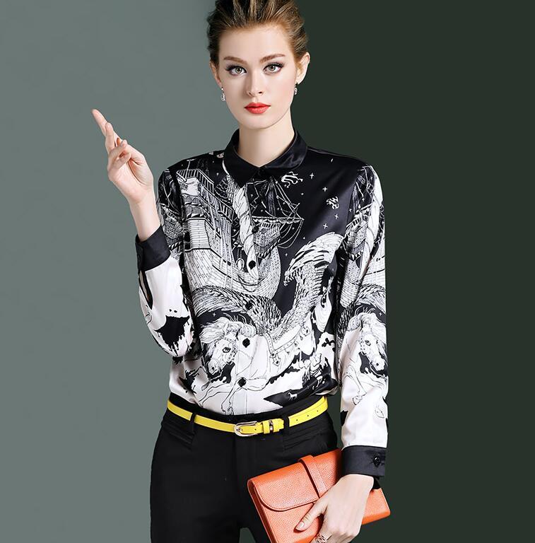 Haute qualité! Marque originale femme printemps décontracté blanc noir imprimé chemise femme manches longues OL chemise chic blouse hauts TB719 - 4