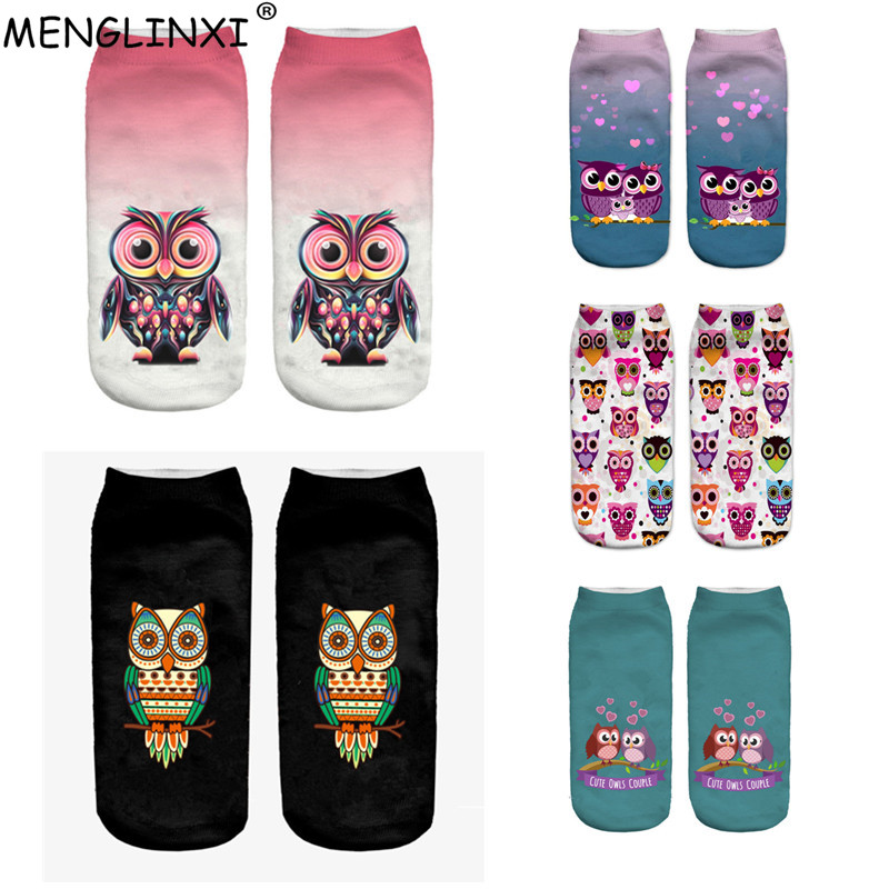 2018 New Harajuku 3D Print Funny   Socks   Women Kawaii Ankle Owl Calcetines Femme Chaussette Mujer   Sock   Cute Emoji Short   Socks