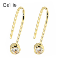 BAIHE Solid 14 К желтого золота 0.20ct H/SI круглый Полный Cut 100% из натуральной бриллиантами свадебные модные ювелирные изделия серьги гвоздики