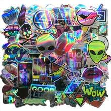 Autocollants cool effet laser, 60 pièces par lot, stickers, ET, alien, courant, bombe, pour moto, skateboard, bagages, ordinateur portable, notebook, guitare, voiture, décalcomanie, AQK,